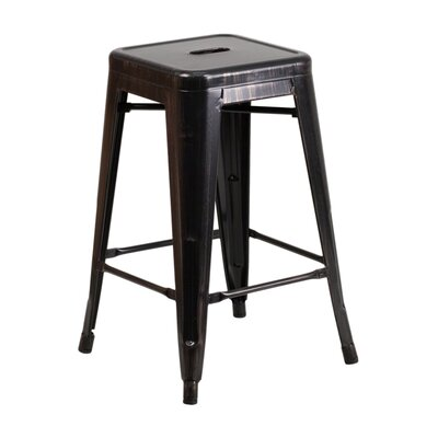 24 inch Bar Stool Finish: Black Antique Gold