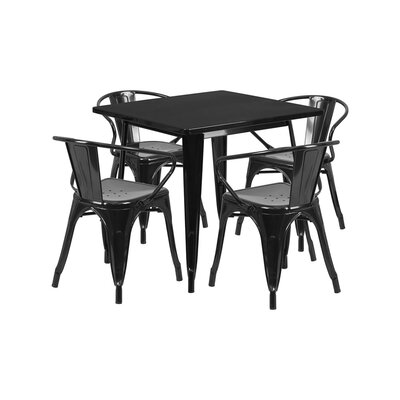 Britton Metal 5 Piece Dining Set Color: Black