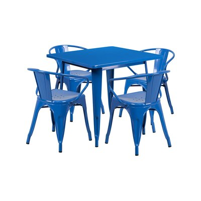 Britton Metal 5 Piece Dining Set Color: Blue