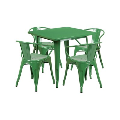 Britton Metal 5 Piece Dining Set Color: Green