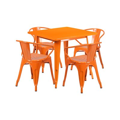 Britton Metal 5 Piece Dining Set Color: Orange