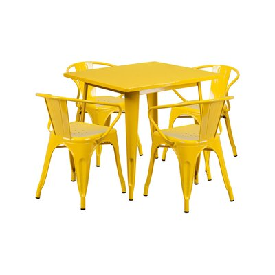 Huggins Metal 5 Piece Dining Set Finish: Yellow