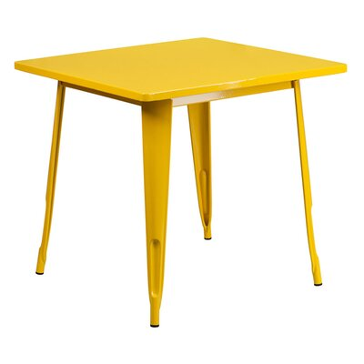 Charles Square Metal Indoor End Table Finish: Yellow