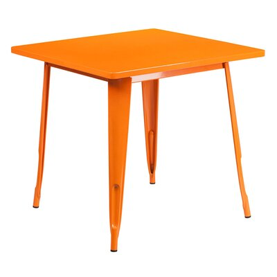 Jesse Square Metal Indoor End Table Color: Orange