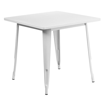 Jesse Square Metal Indoor End Table Color: White