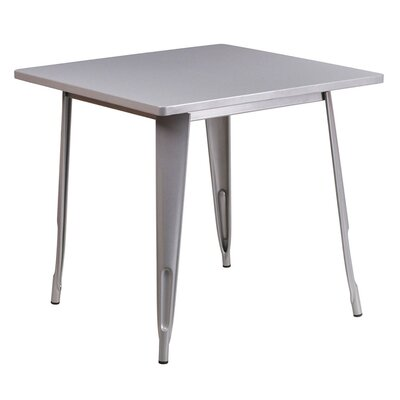 Jesse Square Metal Indoor End Table Color: Silver