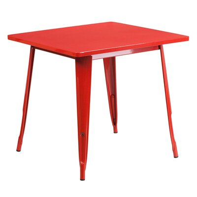 Jesse Square Metal Indoor End Table Color: Red