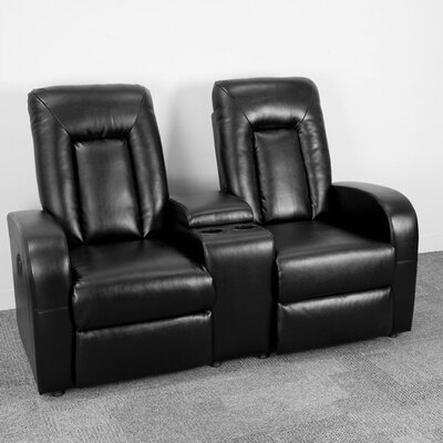 Leather Home Theater Sofa Upholstery: Black