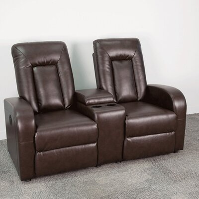 Leather Home Theater Sofa Upholstery: Brown