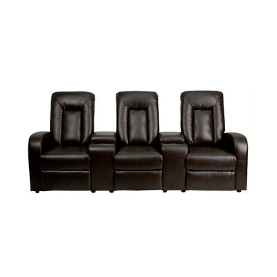 95 Leather Home Theater Sofa Upholstery: Brown