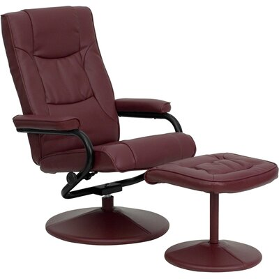 Manual Swivel Recliner With Ottoman Upholstery: Burgundy