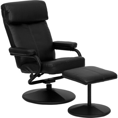 Marisol Manual Recliner with Ottoman Upholstery: Black