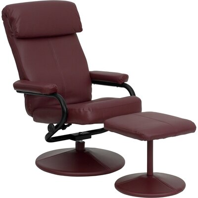 Marisol Manual Recliner with Ottoman Upholstery: Burgundy
