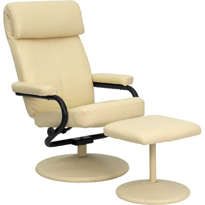 Marisol Manual Recliner with Ottoman Upholstery: Cream