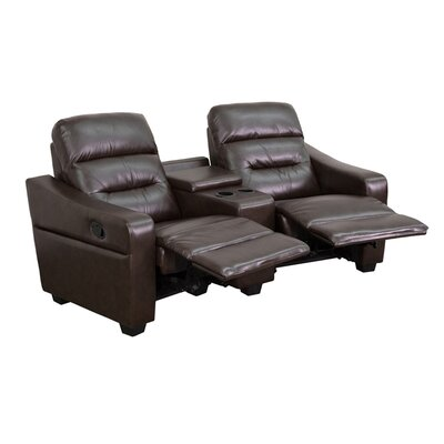 Dash 2 Seat Reclining Leather Home Theater Sofa Upholstery: Brown
