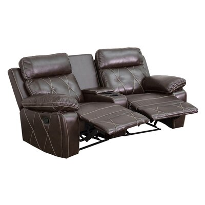 2 Seat Reclining Home Leather Theater Sofa Upholstery: Brown