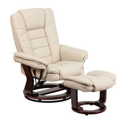 Inga Manual Swivel Recliner with Ottoman Upholstery: Beige