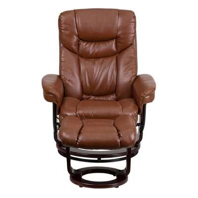 Inga Manual Swivel Glider Recliner With Ottoman Upholstery: Brown