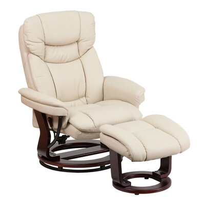 Inga Manual Swivel Glider Recliner With Ottoman Upholstery: Beige