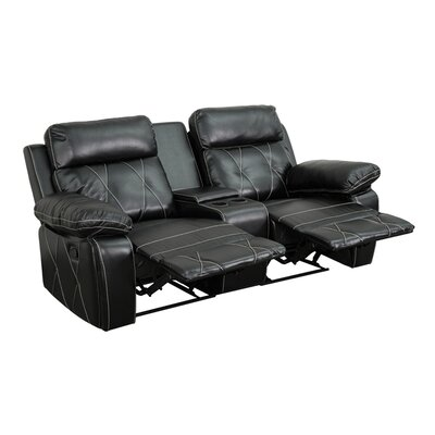 2 Seat Reclining Leather Home Theater Sofa Upholstery: Black