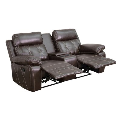 2 Seat Reclining Leather Home Theater Sofa Upholstery: Brown