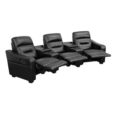 Dash 3 Seat Reclining Leather Home Theater Sofa Upholstery: Black