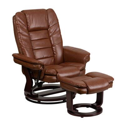 Inga Manual Swivel Recliner With Ottoman Upholstery: Brown
