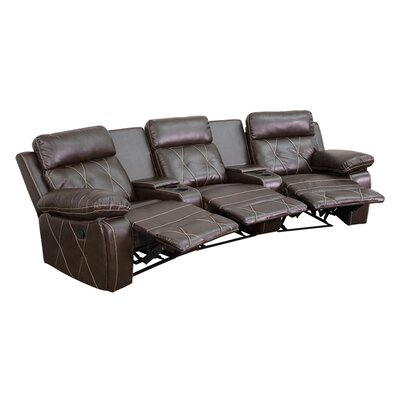 3 Seat Reclining Leather Home Theater Sofa Upholstery: Brown