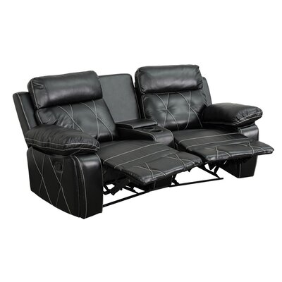 2 Seat Reclining Home Leather Theater Sofa Upholstery: Black