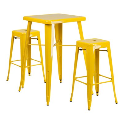 Charles Metal Indoor/Outdoor 3 Piece Bar Set Finish: Yellow