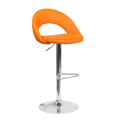 Andrea Adjustable Height Swivel Bar Stool Upholstery: Orange