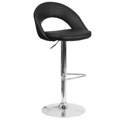 Grove City Adjustable Height Swivel Bar Stool Upholstery: Black