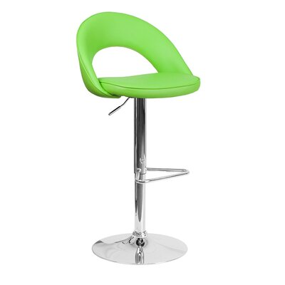 Grove City Adjustable Height Swivel Bar Stool Upholstery: Green