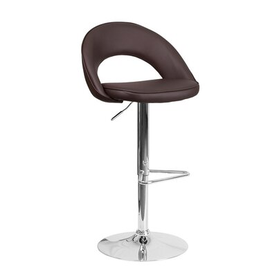 Andrea Adjustable Height Swivel Bar Stool Upholstery: Brown