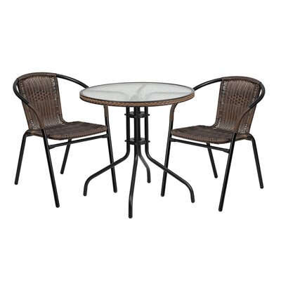 Fontes Round Glass Metal 3 Piece Dining Set Finish: Dark Brown