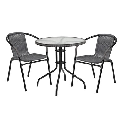 Fontes Round Glass Metal 3 Piece Dining Set Finish: Gray