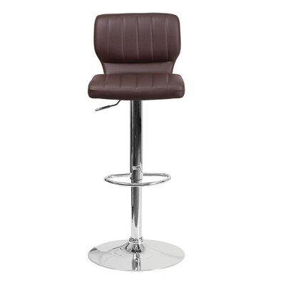 Audrey 33.5 inch Swivel Bar Stool Upholstery: Vinyl - Brown