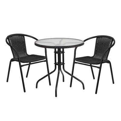 Fontes Round Glass Metal 3 Piece Dining Set Finish: Black