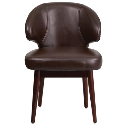 Fluellen Comfort Back Leather Guest Chair Seat Color: Brown