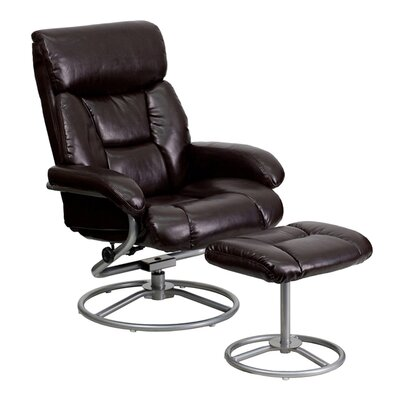 Perrie Manual Swivel Glider Recliner With Ottoman Upholstery: Brown