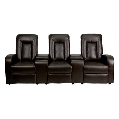 3-Seat Motorized Reclining Leather Home Theater Sofa Upholstery: Brown