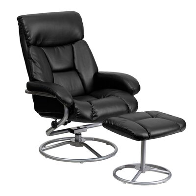Perrie Manual Swivel Glider Recliner With Ottoman Upholstery: Black