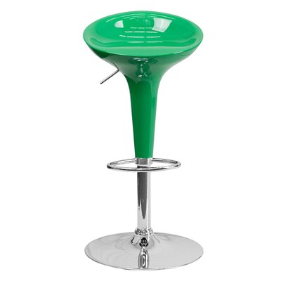 Arlo Adjustable Height Swivel Bar Stool Finish: Green