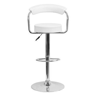 Uma Adjustable Height Swivel Bar Stool Upholstery: White