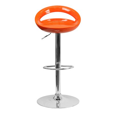 Normandy Adjustable Height 33 Swivel Bar Stool Finish: Orange