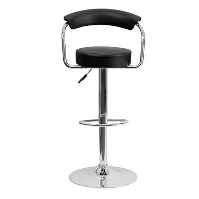 Uma Adjustable Height Swivel Bar Stool Upholstery: Black