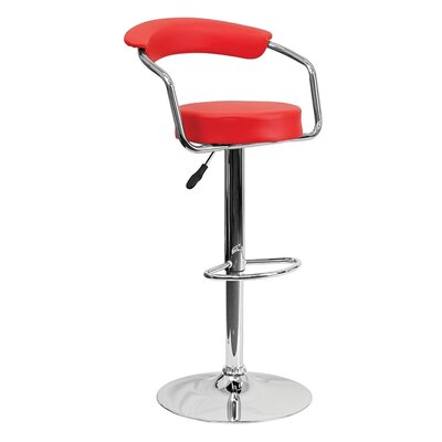 Uma Adjustable Height Swivel Bar Stool Upholstery: Red