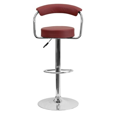 Uma Adjustable Height Swivel Bar Stool Upholstery: Burgundy