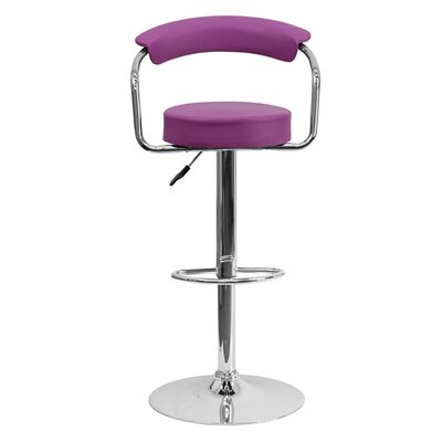 Uma Adjustable Height Swivel Bar Stool Upholstery: Purple