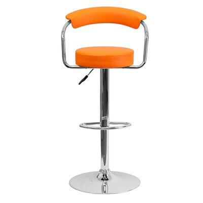 Uma Adjustable Height Swivel Bar Stool Upholstery: Orange